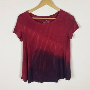 American Eagle Soft & Sexy Red Tie Dye Tee Shirt